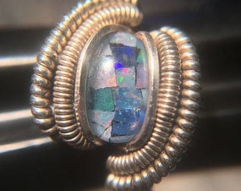 Sterling Silver Wire Wrapped Mosaic Opal Ring, Heady Wire Wrapped Jewelry, Heady Wire Wrap, Heady Opal Wire Wrap Ring, Heady Opal Ring