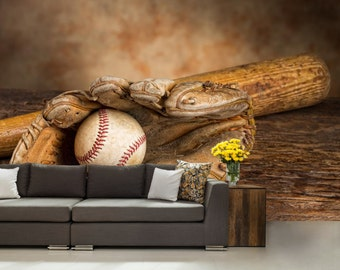 Baseball wall decal etsy for Baseball mural wallpaper