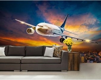 Airplane wall decals etsy for Aviation wall mural