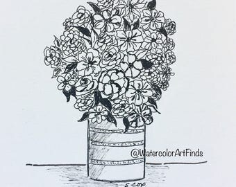 Ink Flowers, Black and White art, Original Floral drawing, flower arrangement, pen and ink flowers, nursery art, room decor, boho chic look