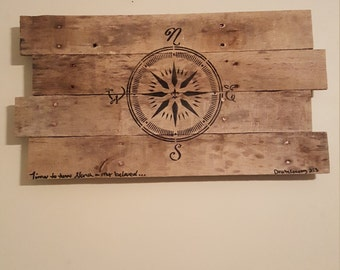 Wood pallet sign, Time to turn North, beloved. Compass