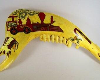Painted Elk Jaw Bone, Train, Indian,