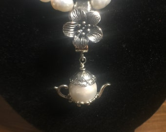 Flower Enhancer w/attached Pearl Teapot Charm