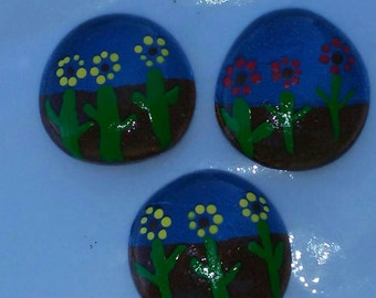 Handpainted Glass Magnets (set of 4)