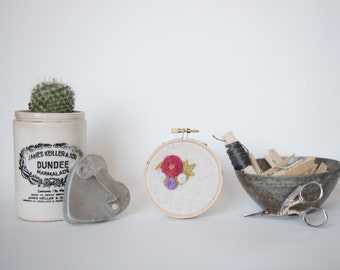 Sweet Floral Embroidery Hoop Art. Floral Hand Embroidery