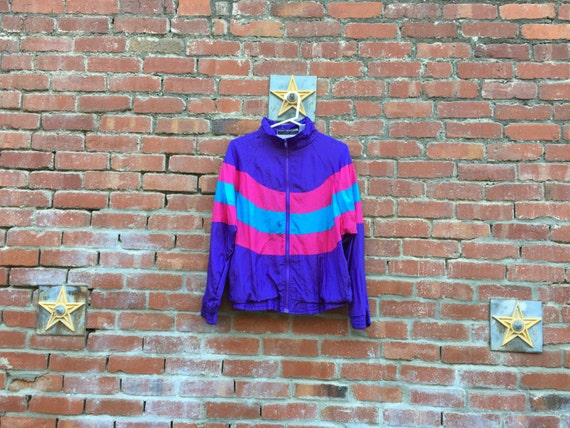 Swoop It Jacket / 80s 90s Pink Purple Teal Large XL