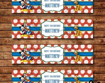 Mickey Mouse Birthday Water Bottle Label, Mickey Mouse Birthday, Mickey Birthday Water Bottle Label, Mickey Mouse