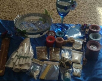 Triple Moon Goddess Full Moon Wiccan Altar Kit