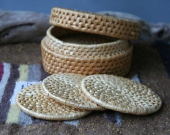 Vintage Set of Six Woven Coasters with Basket