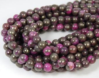 """Two 15"""" strands, Violet Pyrite Beads , 8mm Round"""