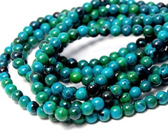 """Two 15.5"""" strands Chrysocolla Round Turquoise Beads 6mm"""