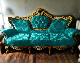 teal blue furniture. Fabulous Baroque Victorian Tufted Sofa Custom Upholstered Renaissance Revival Settee With Sofa. Teal Blue Furniture