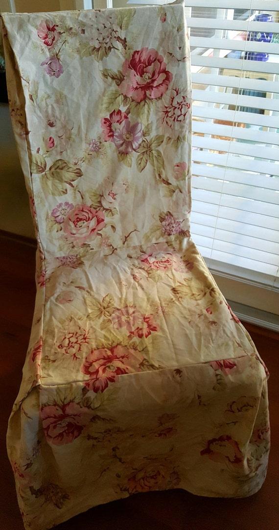 Dining room chair slip cover shabby roses style vintage - Shabby chic dining room chair covers ...