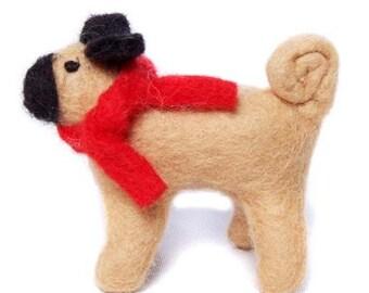 Pug dog. with ear-muffs - Felt vintage - decoration