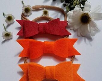 Felt Bow Headbands - Pack of 3