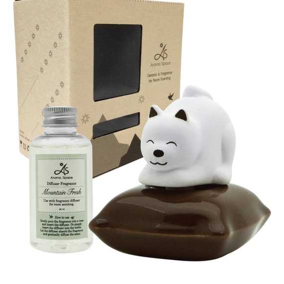LIVELY BREEZE Ceramic Diffuser Set - Koko Dog (Brown) & Mountain Fresh Fragrance