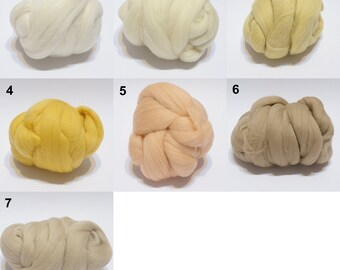 0,5 oz  White, yellow, cream, peach, tan, needle felting merino wool, wool roving