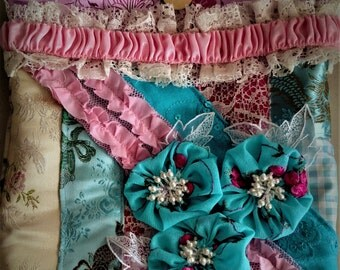 altered couture, bohemian, shabby chic, romantic, gypsy , purse, handbag, shoulder bag, Ivory, cotton candy pink and cerulean blue