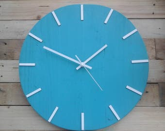 Rustic Rue Wood Wall Clock Vintage Beach Blue 12hr' Shabby Chic Old Style 40cm
