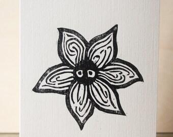 Cute Flower Woodcut Greetings Card