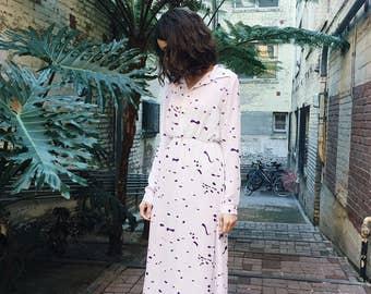Vintage Paint Pattern Maxi Dress