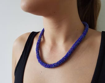 Pink and blue beaded necklace