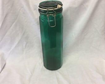 Emerald Green Wire Bale Jar With Seal, Spaghetti Jar
