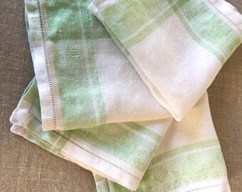 Spring Green Vintage Linen woven napkins set of 4