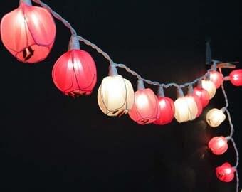 Pink Flower Lights, Tulip Lights, Fairy Lights, String lights for bedroom, outdoor string lights, Fairy Lights, String Lights, patio lights