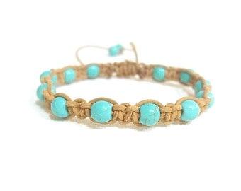 leather turquoise macrame bracelet