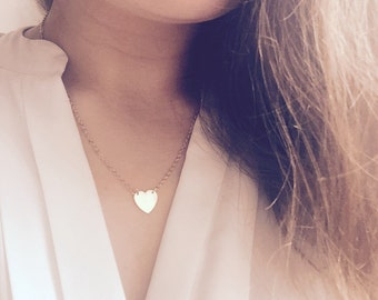 Necklace heart 18 K heart gold chain gold plated filigree necklace everyday necklace heart Valentine's day hearts