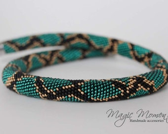 Bead crochet rope snake necklace - phyton snake necklace - gift idea for women - snake style necklace