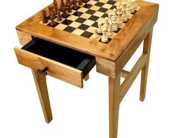 Walnut, Maple, Cherry and Ash Chess Side Table