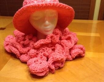 Survivor in Pink 2-pc. Brim Hat & Curly Scarf set
