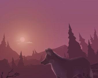 Moonflight Maned Wolf (Print)