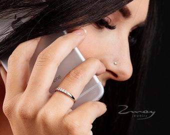 Diamond Stacking Engagement Ring, Pave diamond rings for women, five diamond ring, wedding bands, stacking ring, gold wedding band