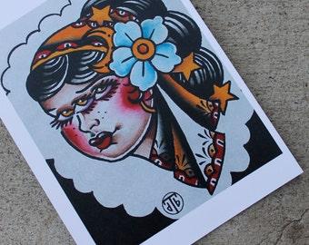 Trixy Gypsy Pin Up Girl Traditional Tattoo Flash