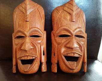 pair of exotic wooden masks
