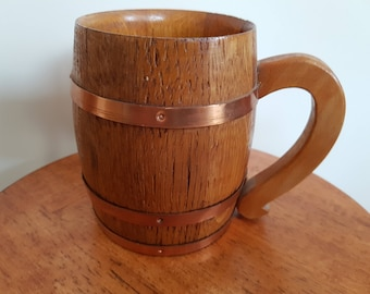 Wood with copper bands Tankard