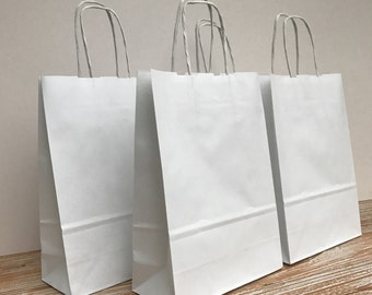 10 x White Paper Kraft Italian Small Gift Bags 18x25x8cm Wedding Hen Birthday Parties