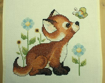Fox pup counted cross stitch - unframed