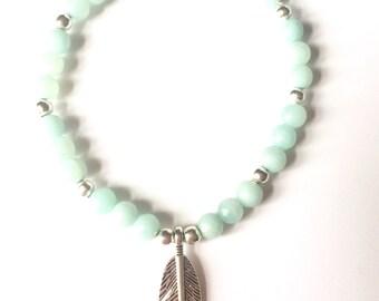 Feather turquoise gemstone charm bracelet
