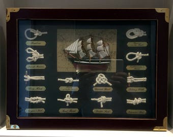 Sailing Ship and Nautical Knots Shadow Box Frame