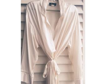 Long Pearl Silk Robe