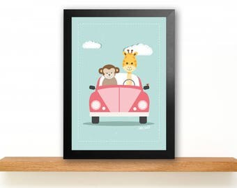 ROAD TRIP GIRAFFE & monkey