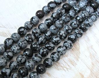 Snowflake Obsidian, 6mm beads, full strand, black obsidian, obsidian 6mm, obsidian strand, 6mm obsidian, snowflake beads
