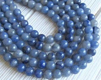 8mm blue Aventurine, full strand, blue aventurine stones,  aventurine strand, round beads, blue aventurine 6mm, aventurine blue, mala beads