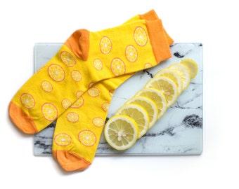 Orange socks, fun socks, fruit design socks, cozy socks, women socks, casual socks, cool socks, gift socks, cotton socks, made in EU socks