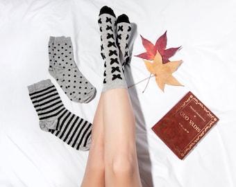 Black & Grey, 3pack, cute socks, fun socks, Black and grey sock, women socks, casual socks, cool socks, gift socks, cotton socks, made in EU