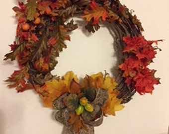 Fall Leaves Acorn Grapevine Wreath
